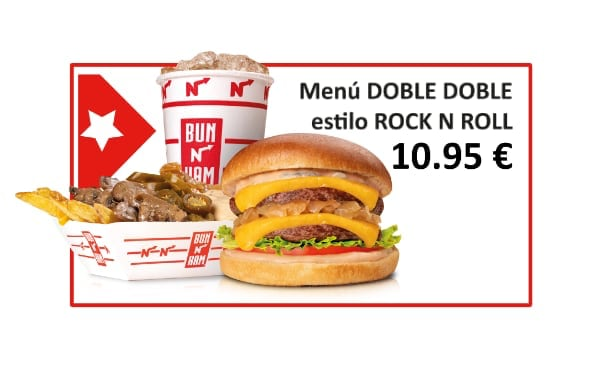 Menu doble doble estilo rock and roll